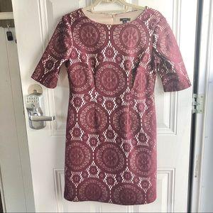 R&K cranberry/maroon & tan lace women's dress 4P
